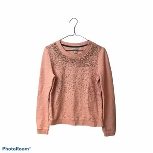 Hinge Beaded Terry Sweater beaded Pink Size Small